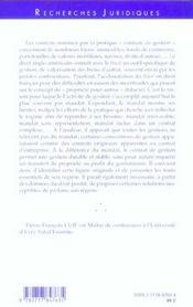 Le Contrat De Gestion - 4ème de couverture - Format classique