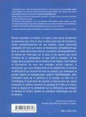 La Matiere Et L'Esprit - 4ème de couverture - Format classique