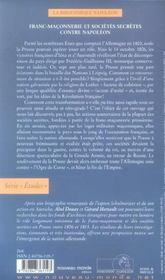Franc-maconnerie et societes secretes prussiennes contre napoleon - 4ème de couverture - Format classique