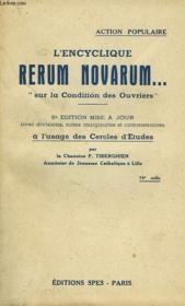 L'Encyclique Rerum Novarum..., 'Sur La Condition Des Ouvriers' - Couverture - Format classique