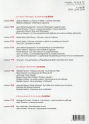 Revue Le Débat N.187 ; France Allemagne, un partenariat difficile - 4ème de couverture - Format classique