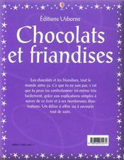 Chocolats Et Friandises - 4ème de couverture - Format classique