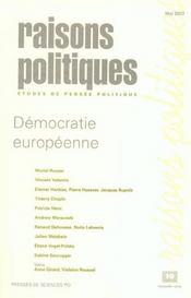 Revue Raisons Politiques N.10 ; Démocratie Européenne - Intérieur - Format classique