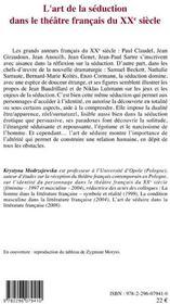 L'art de la séduction dans le théâtre français du XXe siècle - 4ème de couverture - Format classique