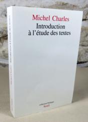 Introduction à l'étude des textes. - Couverture - Format classique