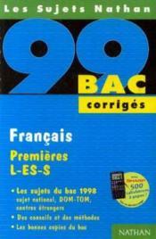 Bac 98-99 Francais 1 Res L Es S Corriges - Couverture - Format classique