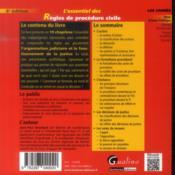 L'essentiel des règles de procédure civile (6e édition) - 4ème de couverture - Format classique