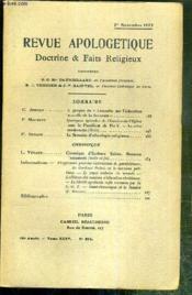 REVUE D'APOLOGETIQUE - DOCTRINE & FAIT RELIGIEUX - N° 396 - 1er NOVEMBRE 1922 - à propos de