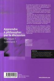 Apprendre à philosopher par la discussion - 4ème de couverture - Format classique