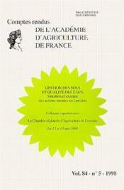 Gestion des sols et qualite des eaux : situation et examen des actions menees en lorraine (comptes r - Couverture - Format classique