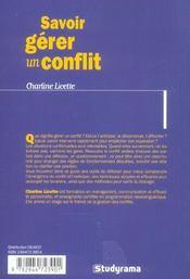 Savoir gerer un conflit - 4ème de couverture - Format classique