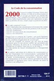 Code De La Consommation 2000 - 4ème de couverture - Format classique