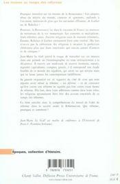 Les moines au temps des réformes ; France, 1480-1560 - 4ème de couverture - Format classique