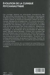 Evolution de la clinique psychanalytique - 4ème de couverture - Format classique