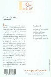 La littérature comparée - 4ème de couverture - Format classique