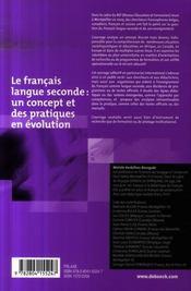 Le français langue seconde: un concept et des pratiques en évolution - 4ème de couverture - Format classique