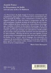Le procurateur de Judée - 4ème de couverture - Format classique