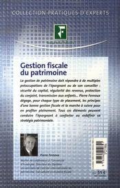 Gestion fiscale du patrimoine (édition 2007) - 4ème de couverture - Format classique