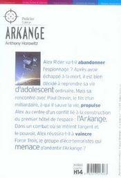 Alex Rider T.6 ; arkange - 4ème de couverture - Format classique