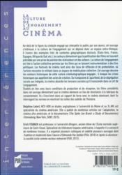 La culture de l'engagement au cinéma - 4ème de couverture - Format classique