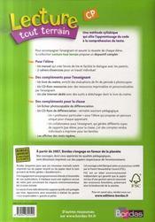 LECTURE TOUT TERRAIN ; CP ; cycle 2 ; cahier exercices t.1 - 4ème de couverture - Format classique