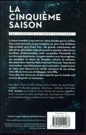Les livres de la terre fracturée T.1 ; la cinquième saison - 4ème de couverture - Format classique
