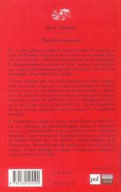 Matiere et memoire (7eme ed) - 4ème de couverture - Format classique