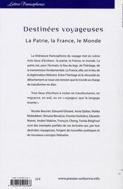 Destinées voyageuses. la patrie, la france, le monde - 4ème de couverture - Format classique