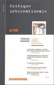 Revue Critique Internationale N.20 - Couverture - Format classique