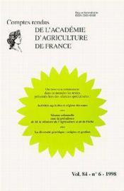 Activites agricoles regime des eaux la diversite genetique origine et gestion comptes rendus - Couverture - Format classique