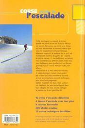 Corse ; paradis de l'escalade - 4ème de couverture - Format classique