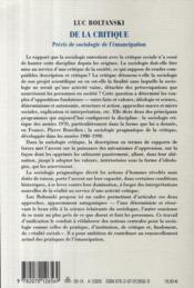 De la critique ; précis de sociologie de l'émancipation - 4ème de couverture - Format classique