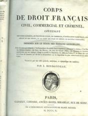Corps De Droit-Francais, Civil, Commercial Et Criminel - Couverture - Format classique