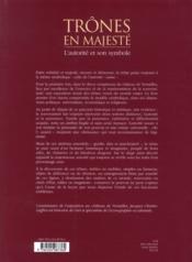 Trônes en majesté ; l'autorité et son symbole - 4ème de couverture - Format classique