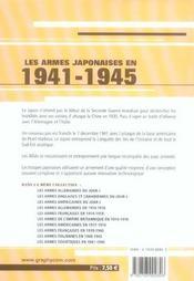 Les Armes Japonaises En 1941-1945 - 4ème de couverture - Format classique