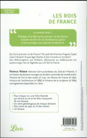 Les rois de France ; biographie et généalogie des 80 rois et régentes de France - 4ème de couverture - Format classique