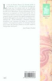 La sécurité sociale et ses principes - 4ème de couverture - Format classique
