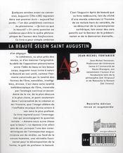 La beaute selon Saint-Augustin - 4ème de couverture - Format classique