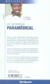 Les métiers du paramédical (4e édition) - 4ème de couverture - Format classique