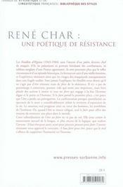 René char : une poétique de résistance ; être et faire dans les feuillets d'hypnos - 4ème de couverture - Format classique