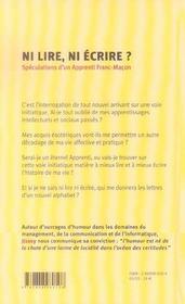 Ni lire, ni écrire ? spéculations d'un apprenti franc-maçon - 4ème de couverture - Format classique
