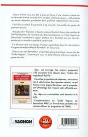 Code Vagnon Du Secourisme Premiers Secours - 4ème de couverture - Format classique