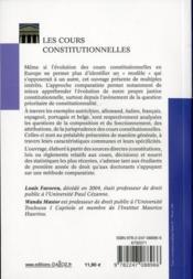 Les cours constitutionnelles - 4ème de couverture - Format classique