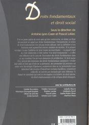 Droits fondamentaux et droit social - 1ere ed. - 4ème de couverture - Format classique