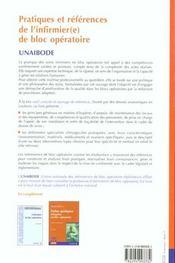 Pratiques Et References De L'Infirmier De Bloc Operatoire - 4ème de couverture - Format classique