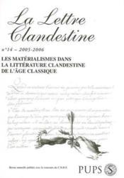 La Lettre Clandestine N.14 ; Matérialismes - Couverture - Format classique