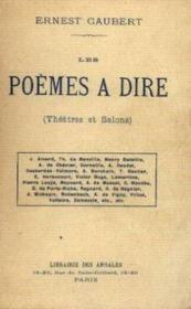 Les poèmes à dire. (théâtre et salons) - Couverture - Format classique