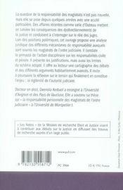 La responsabilité des magistrats - 4ème de couverture - Format classique