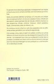 Glossaire De Didactique De L'Anglais 2e Edition Augmentee Et Mise A Jour - 4ème de couverture - Format classique