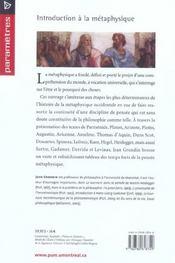 Introduction a la metaphysique - 4ème de couverture - Format classique